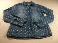 Justice Girls Size 12 Denim Color Long Sleeve Button Up Shirt Hearts Fall