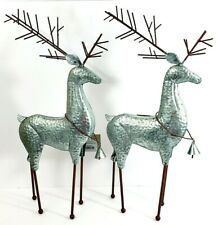 """Set of 2 Standing Metal Reindeer 19"""" Tall x 8"""" x 2.5"""" Holiday Time Nwt"""