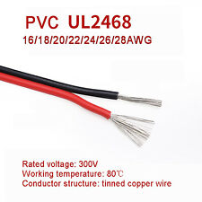 2 Core Red And Black 300V Cable Amp Car Auto Boat Audio Loud Speaker Wire UL2468