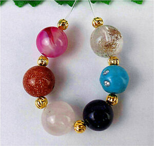 6Pcs 8mm/7mm Multicolor Mixed Stone Agate Heigth Hole Ball Bead BV7479