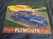 1940 Plymouth Speciale Deluxe Grande Colore Brochure Catalogo Prospetto