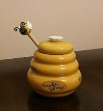 BEEHIVE HONEY MIEL POT Jar Ceramic with Wooden Spool BUMBLE BEE DIPPER
