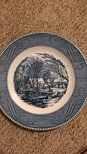 CURRIER AND IVES SET OF 4 10 INCH OLD GRIST MILL BLUE AND WHITE DINNER PLATES