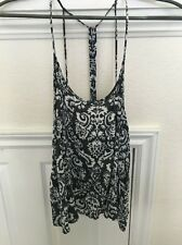 Junior's Strappy Blueish-Gray Blouse with White Design - Large