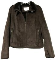 Van Heusen Womens Brown Faux Suede Fur Jacket Size Medium