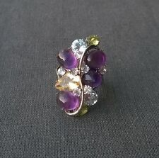 GENUINE 925 SOLID STERLING SILVER MULTI GEMSTONE AMETHYST SPRING CLUSTER RING O
