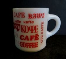 Milk Glass Mug Coffee White w/ Red Graphics Kaffe Kawa Multiple Languages