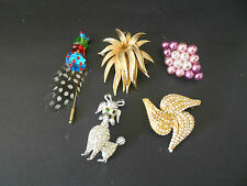 BULK LOT OF 5 X VINTAGE BROOCHES POODLE CRYSTAL BEADS GORGEOUS FROM C1960s