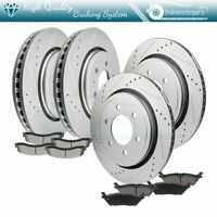 Brake Disc Front And Rear Rotors Ceramic Pads Drill Slot For 15-2017 Ford F-150
