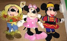 "New listing Lot Of 3 Disney Mickey Minnie Mouse 7"" Beanie Mini Bean Bag Plush Stuffed Toy"