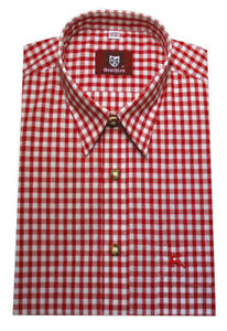 Orbis Trachten Hemd rot weiß kariert Krempelarm Oktoberfest OS-0071 Regular Fit