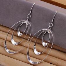 925 Sterling Silver Plated Triple Hoop Oval Shape  Earrings 30mm  + Gift Bag
