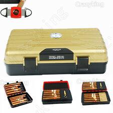 Cohiba Golden Double-Deck Multifunction Travel Cigar Humidor Humidifier W Cutter