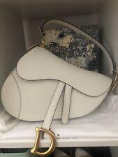 Christian Dior Saddle Bag Handtasche Tasche Ecru White Medium Gold Calfskin