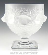 Lalique France Crystal ELIZABETH FOOTED VASE BOWL COMPOTE BIRDS SPARROW