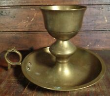 vintage Brass Metal Candlestick Candle Holder Finger Handle Drip Catcher