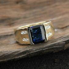 Radiant Cut Blue Sapphire Diamond Mens Engagement Ring 14K Yellow Gold GP 2.50Ct