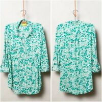 Anthropologie MAEVE Women's SMALL Green ISLET FLORAL Button Down Shirt TOP