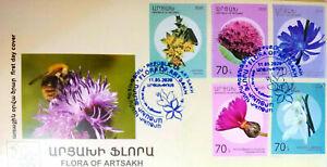 Artsakh Karabakh Armenia 2020 FDC Wild W. Protection Flora Flower self-adhesive
