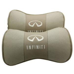 2Pcs Real Leather Beige Color Car Seat Neck Cushion Pillow Car Headrest