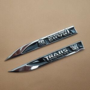 2Pcs Car Emblem Metal Black Transformers Autobot Logo Side Fender Badge Sticker