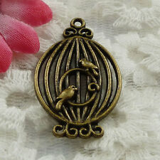 Free Ship 26 pieces bronze plated birdcage pendant 34x21mm #1351