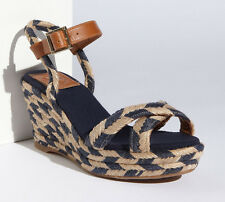 NEW TORY BURCH Camelia Mid Wedge Espadrille US 10 M Sandal Navy/Natural/Tan Shoe