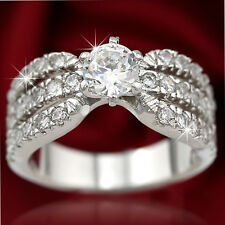 18K WHITE GOLD GF 1CT KISS HUGS CRYSTAL BAND WEDDING DRESS COCKTAIL RING JEWELRY