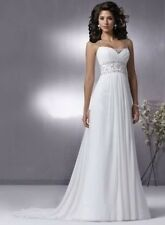 MAGGIE SOTTERO COUTURE $1299 NEW 12 WHITE CHIFFON BEADED DESTINATION BRIDAL GOWN
