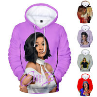 Cardi B Mens Womans Hoodie Cotton Sweather 3D Print Tops Pullover Music Fans