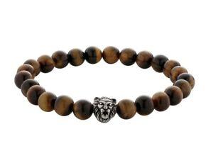 Revere Men's Stainless Steel Tigers Eye Lion Head Bracelet