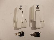 TWO- White Self Locking Cargo Trailer Cambar Door Latch Vise Lock Cam Bar Handle