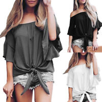 Fashion Women's Solid Off Shoulder Bell Sleeve Shirt Tie Knot Casual Blouses Top