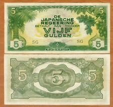 Netherlands Indies, 5 Gulden, ND (1942), P-124c, Ch. UNC > WWII, JIM