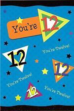 12th BIRTHDAY CARD - AGE 12 - BLUE, GREEN