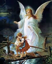 "Jesus Christ Guardian Angel art print 8""x 10"" Christian Photo 1"
