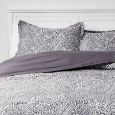 THRESHOLD 3pc Paisley Ogee Comforter Set 100% Cotton | Gray | Full/Queen | 🆕