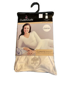 Cuddl Duds Women's S Long Sleeve White Crew Neck ClimateSmart Base Layer Top