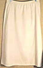 Vintage Jaclyn Smith Studio Long Linen/Cotton Pull-On A-Line Skirt Sz L Oatmeal