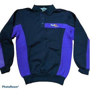 Vintage FedEx Stan Herman Long Sleeve Fleece Employee Shirt Collared sz M NWOT