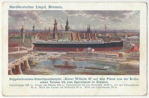 1910 Norddeutscher Lloyd, Bremen - Steamship, Ocean Liner Dresden Germany Ship