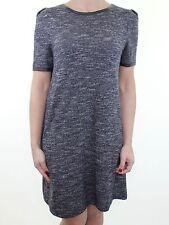 RIVER ISLAND dark grey knit style tunic mini dress w faux leather trim size 12