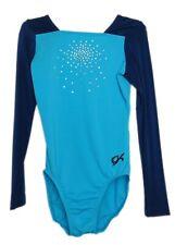Gk Elite Jeweled Turquoise/Navy Gymnastics Leotard - Axs Adult Extra Small 3962