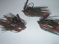 Custom Weedless Football Jig Lot Of 3 Mottled Craw 1/4 oz. Living Rubber LOOK