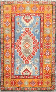 Geometric Super Kazak Oriental Area Rug Vegetable Dye Hand-knotted Wool 2x3 ft