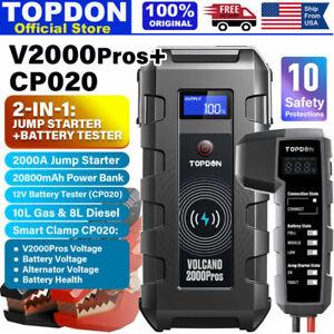⚡TOPDON 2000A VOLCANO2000 Pro Peak 20800mAh Car Jump Starter CP010 Clamp