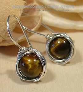 Tiger's Eye Sterling Silver 925 Earrings Handmade 0120-10