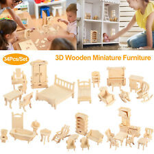 34Pcs 3D Wooden Puzzle DIY Handmade Furniture Miniature Dollhouse Building Mode