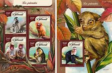 Gibuti Scimmie Animali Fauna Nuovo senza Linguella Set Timbri