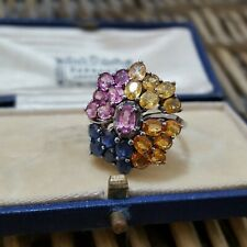NATURAL RAINBOW SAPPHIRE RING,LARGE CLUSTER, SIZE O US 7.25,925 STERLING SILVER